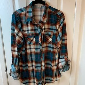 NWT Passport Teal & Brown Plaid Shirt Size XXL.